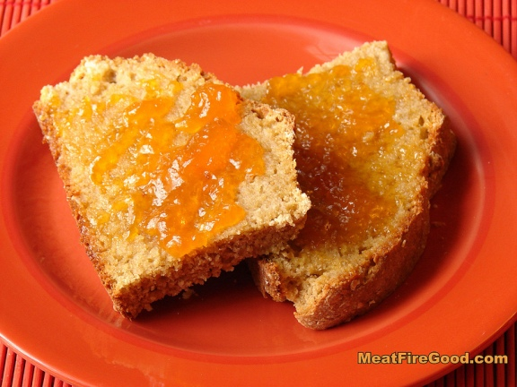 Whole Wheat -n- Oat Soda Bread served warm with butter and apricot preserves -- absolutely brilliant!