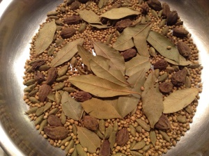 Roasting ingredients for Garam Masala.
