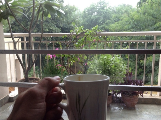 Fresh chai and monsoon rains are a welcomed respite from the hustle and bustle of Delhi.